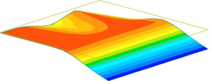 Izopásma deformace desky na zemním podloží